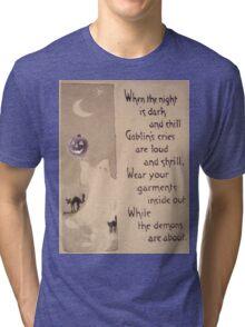 The Ghost & The Pumpkin (Vintage Halloween Card) Tri-blend T-Shirt
