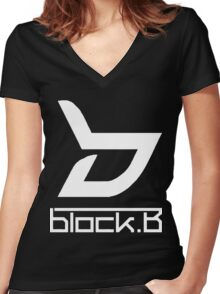 block. B Women's Fitted V-Neck T-Shirt