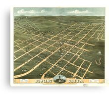 Panoramic Maps Bird's eye view of the city of Bowling Green Warren County Kentucky 1871 Canvas Print