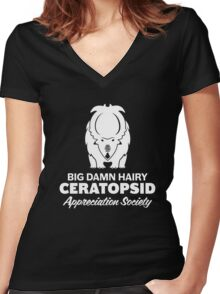 Big Damn Hairy Ceratopsid Appreciation Society (white on dark) Women's Fitted V-Neck T-Shirt
