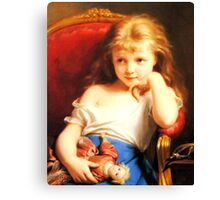 Girl Holding Doll (Vintage ART) Canvas Print
