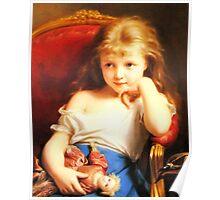 Girl Holding Doll (Vintage ART) Poster