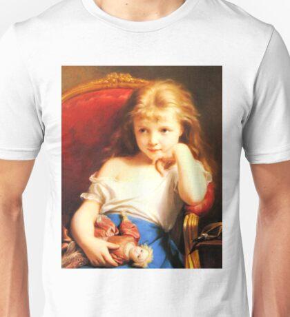 Girl Holding Doll (Vintage ART) Unisex T-Shirt