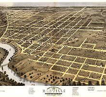 Panoramic Maps Bird's eye view of the city of Danville Vermillion County Illinois 1869 by wetdryvac
