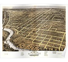 Panoramic Maps Bird's eye view of the city of Danville Vermillion County Illinois 1869 Poster