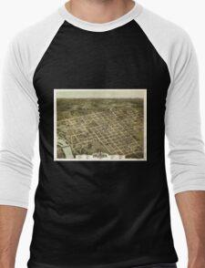 Panoramic Maps Bird's eye view of the city of Columbia South Carolina 1872 Men's Baseball ¾ T-Shirt