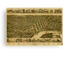 Panoramic Maps Perspective map of Montgomery State capital of Alabama Canvas Print