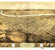 Panoramic Maps Bird's eye view of the city of Lawrence Kansas 1869 by wetdryvac