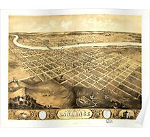 Panoramic Maps Bird's eye view of the city of Lawrence Kansas 1869 Poster