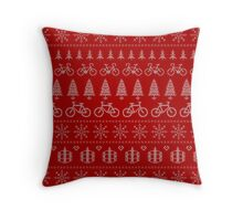 Christmas Cycling Jumper | Red Throw Pillow