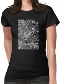 Typography Grayscale Womens Fitted T-Shirt
