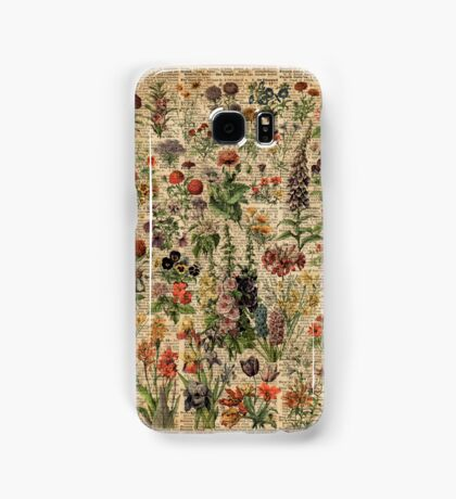 Colourful Wild Meadow Flowers Over Vintage Dictionary Book Page Samsung Galaxy Case/Skin