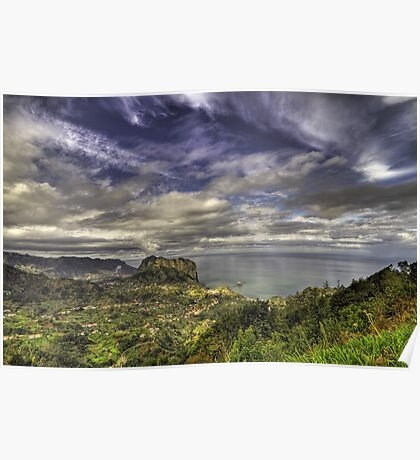 Landscape with dramatic sky. Poster