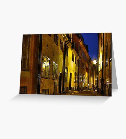 Street at night in Old Town. Greeting Card
