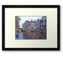 Canal Houses in Amsterdam, Holland Framed Print