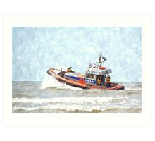 Life Boat on duty in The North Sea, Holland Art Print
