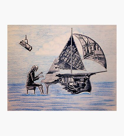 Pianist surreal pen, ink, color pencil drawing Photographic Print