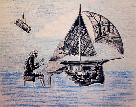 Pianist surreal pen, ink, color pencil drawing by Vitaliy Gonikman