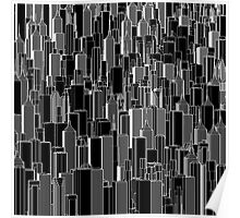 Tall city B&W inverted Poster
