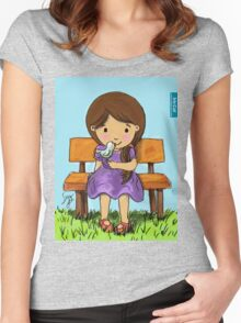 Girl with Bird / Iris Gat Women's Fitted Scoop T-Shirt