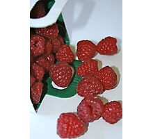 Raspberries out of their box Photographic Print