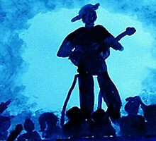 Guitarist with his adoring fans, watercolor by Anna  Lewis
