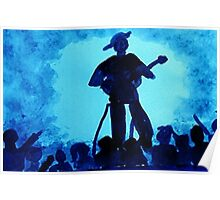 Guitarist with his adoring fans, watercolor Poster