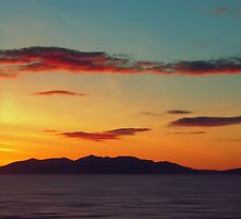 Red Clouds over the Yellow island of Arran by David Alexander Elder