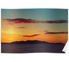 Red Clouds over the Yellow island of Arran Poster
