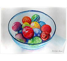 A bowl of decorated Easter eggs Poster