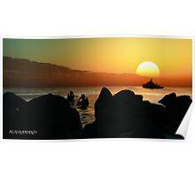 sundown diving. Poster