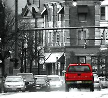 Urban Color Photography - Red Truck, B & W Broadway by Fojo