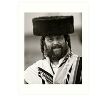 7 ★★★★★. My features Art that I LOVE!!!  A tallit with black stripes according to the Orthodox Ashkenasic tradition . by  Doctor Faustus. Featured in Hat Heads. & Male Appreciation A dank ojch zejer!  Art Print