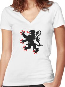 lion nord pas de calais scotland chti Ch'ti Women's Fitted V-Neck T-Shirt