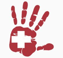 Hand print of flag of Switzerland by nadil