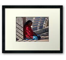 Old Lady At The Bridge - Señora Vieja En El Puente Framed Print