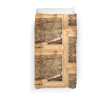 Panoramic Maps Schenectady NY Duvet Cover