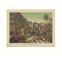 Entrance of Cortez into Mexico Meeting Montezuma November 8 1519 Art Print