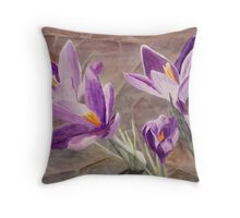 Purple Crocuses, Signs of Spring Throw Pillow