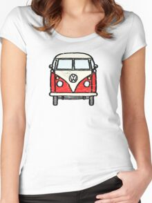 Red White Campervan Worn Well Women's Fitted Scoop T-Shirt