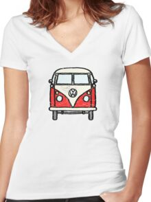 Red White Campervan Worn Well Women's Fitted V-Neck T-Shirt