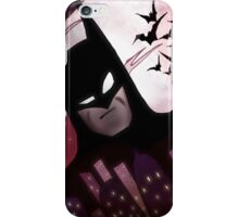 BATMAN from the Animated Series, Gotham Cityscape, Full Moon, and Bats iPhone Case/Skin
