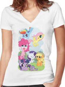 Filly Mane 6 Women's Fitted V-Neck T-Shirt