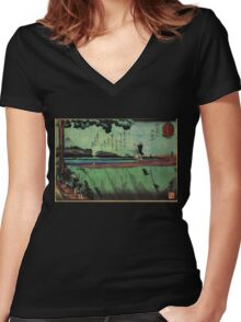 Japanese:  Mt. Fuji - Green Women's Fitted V-Neck T-Shirt