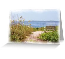 Painted Bench by the Sea Greeting Card