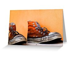 Old used and soiled orange Converse All Star shoes Greeting Card