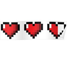 Half-Heart Video Game Hearts Poster