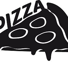 Text pizza dripping cheese salami slices piece by Style-O-Mat