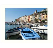 boats at Portovenere Art Print