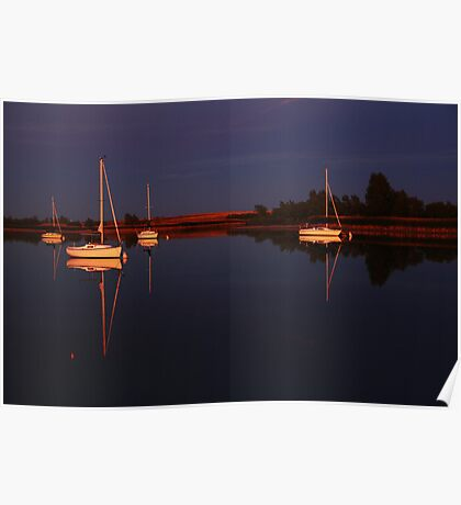 Sunset. Yachts at Aurora Reservoir. Denver. Colorado. USA. Photo 7 Poster